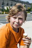Young boy eating a tasty ice cream — Stock Photo