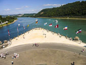 Confluence of Rhine and Mosel rivers. — Stock Photo
