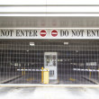 Do not enter sign with closed roller blind at a garage — Stock Photo #49665667