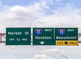 Street signs at the interstate in Texas — Stock Photo