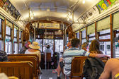 People travel with the famous old Street car  — Stock Photo