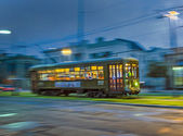 Streetcar Line St. Charles ny night in New Orleans — Stock Photo