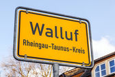 City limit sign Walluf - signage - Germany  — Stock Photo