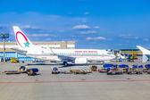 airport Frankfurt wioth aircraft of Royal Air Maroc — Stock Photo
