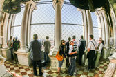 people visit the top of the campanile  at Plaza San marco — Stock Photo