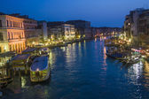 View to Canale Grande by night in Venice, Italy — Stock Photo