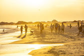 People enjoy the beautiful beach in late afternoon  at Dauphin I — Stock Photo