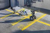 Close up of aircraft wheel at the gate — Stock Photo
