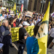 Постер, плакат: People demonstrate against murder and violation of kurdish peopl