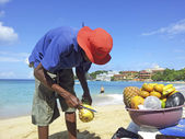 Man sells ananas at the beach — Stock Photo