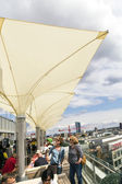 People enjoy the view from the panorama platform to Frankfurt — Stock Photo
