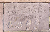Handprints  of Ray Milland in Hollywood Boulevard in the concret — Stock Photo