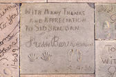 Handprints  of Freddy Bartholonew in Hollywood Boulevard in the  — Stock Photo