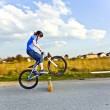 Young boy jumping with his dirk bike over a barrier at the stree — Stock Photo #7379184