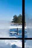 Winter venster weergave — Stockfoto
