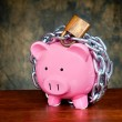 Stock Photo: Chained piggybank