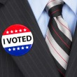 Stock Photo: I voted pin on lapel