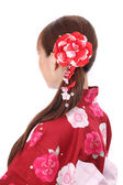Profile of young asian woman in kimono — Stock Photo