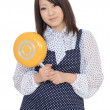 Young asian housewife with frying pan — Stock Photo