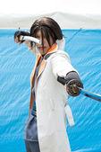 KAGAWA, JAPAN - May 3: Japanese anime character cosplay pose in Anime Event in Kagawa 2013 on May 3, 2013 at Mamugame-Jou Park, Kagawa, Japan. — Stock Photo