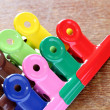 Colorful binder clips — Stock Photo