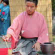 Japanese tea ceremony in garden — Stock Photo