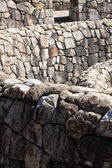Wall of a fortress with regular stones — Stock Photo