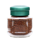 Instant coffee in glass jar — Stock Photo