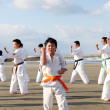 Stock Photo: Training of Karate at beach