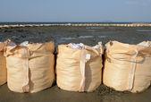 Sandbags for protection — Stock Photo