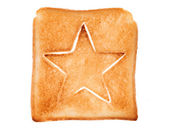 Toasted bread with star shape — Stock Photo