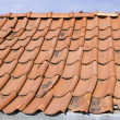 Stock Photo: Red tile roof with gutter system and attic