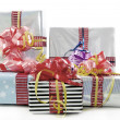 Christmas gifts boxes isolated — Stock Photo