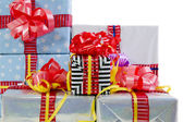Colored Christmas gifts boxes texture — Stock Photo