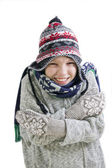 Boy freezing in cold winter — Stock Photo