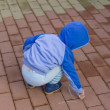 Stock Photo: Child drawing with chalk on stone pavement