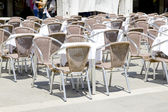 Empty tables of sidewalk cafe — Stock Photo