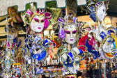 Showcase in the store with venetian mask — Stock Photo