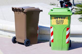 Trash cans and containers for garbage separation — Stock Photo