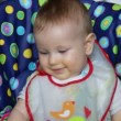 Baby boy at lunch time laughing, with sound — Stock Video #13139300