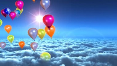 Above clouds colorful balloons flying — Stock Video