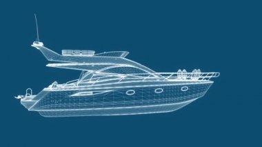 Blueprint eğlence tekne, sorunsuz döngü — Stok video
