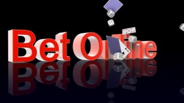 BetOnline text with casino chips dice and cards falling — Stock Video