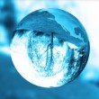 Earth globe blue glass,nature refract,loop — Stock Video