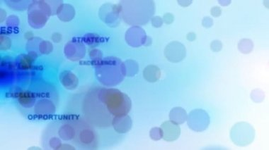 Business words with blue circles, seamless loop — Stock Video