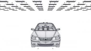 Bil skiss roterande, komponenter montering, sömlös loop — Stockvideo