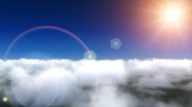 Clouds fly and lens flare — Stockvideo