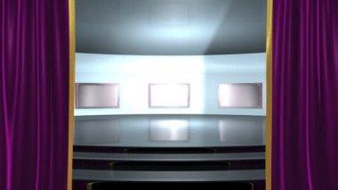 Cortinas de apertura y escena con televisores de pantalla plana — Vídeo de Stock