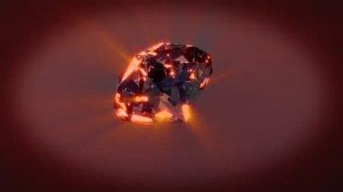 Diamond rotating on xyz axes looping — Stock Video