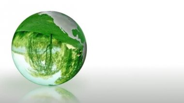 Earth Globe made of glass, environmental conservation, looping — Stock Video
